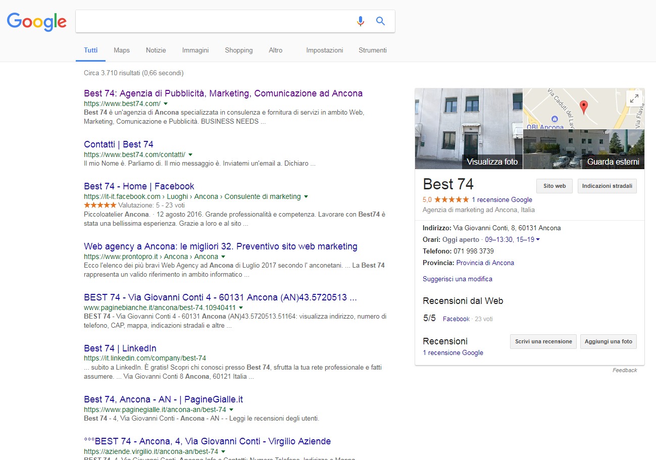 """google my business agenzia web marketing comunicazione ancona best74"""